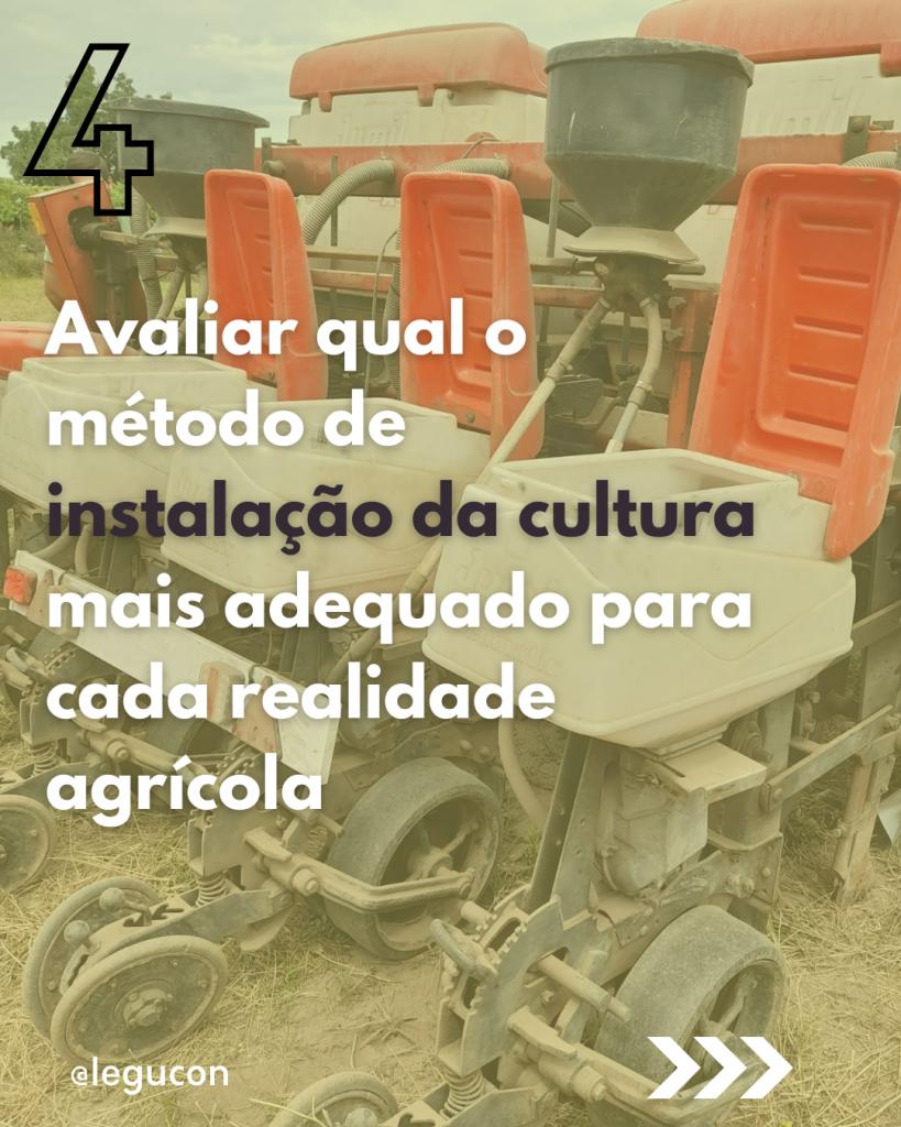 Objetivos agronómicos: instalação da cultura